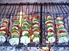 vegetable kebabs on the barbecue grill